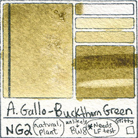 NG2 A Gallo Buckthorn Green natural plant water color pigment database swatch test card light fast