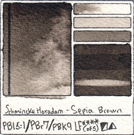 PB15:1 PBr7 PBk9 Schmincke Horadam Sepia Brown Watercolor Swatch Card Color Chart