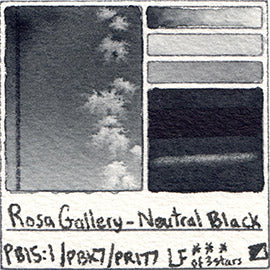 PB15:1 PR177 PBk7 Rosa Gallery Neutral Black Watercolor Art Pigment Database Tube Pan Color Chart