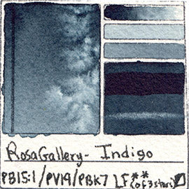 PB15:1 PV19 PBk7 Rosa Gallery Watercolor Indigo Art of Pigment Tube Full Pan Color Chart