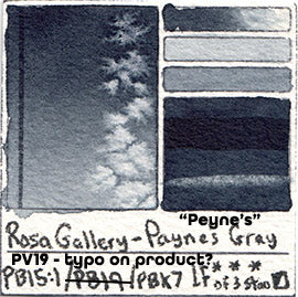 PB15:1 PV19 PBk7 Rosa Gallery Watercolor Payne's Gray Watercolor Database Peynes PB19 Pigment