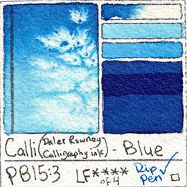 PB15:3 Calli Daler Rowney CALLIGRAPHY INK Blue pigment dip pen swatch card color colour database