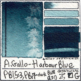 PB15:3 PBr7 A Gallo Harbour Blue water color pigment database swatch test card light fast