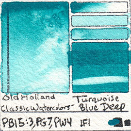 PB15:3 PG7 PW4 Old Holland Classic Watercolors Turquoise Blue Deep pigment swatch rare mineral paint art professional