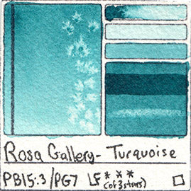 PB15:3 PG7 Rosa Gallery Watercolor Turquoise Pigment Database Color Chart Swatch Card