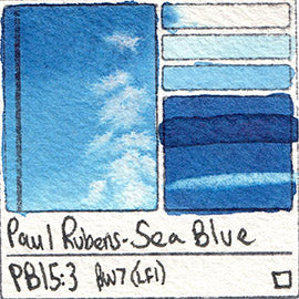 PB15:3 Paul Rubens Standard Pan set Sea Blue art swatch card color pigment database stain test masstone diluted