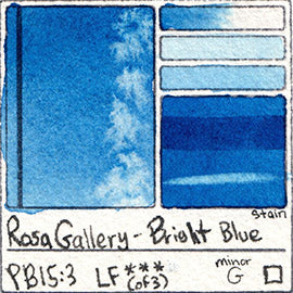 PB15:3 Rosa Gallery Bright Blue Watercolor Paint Pigment Database Handprint Color Chart