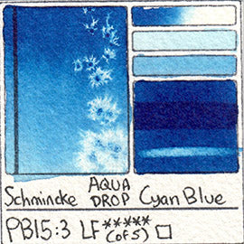 PB15:3 Schmincke Aqua Drop Cyan Blue Watercolor Swatch Card