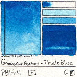 PB15:4 Grumbacher Academy Thalo Blue Watercolor Swatch Card