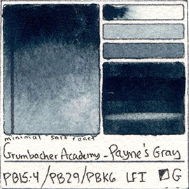 PB15:4 PB29 PBk6 Grumbacher Academy Payne's Gray Watercolor Swatch Card