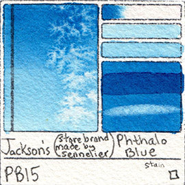 PB15 Jackson's Store Brand Phthalo Blue gritty stain pigment database sennelier art color swatch card