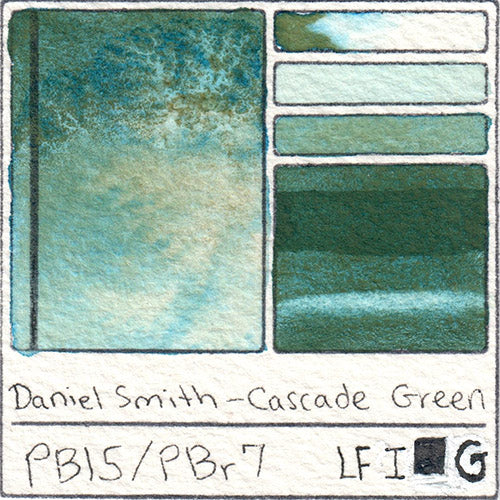 Daniel Smith Cascade Green Watercolor Swatch Card Color Chart