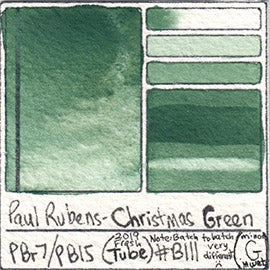 PB15 PBr7 Paul Rubens Tube Watercolor Christmas Green Swatch Card Color Chart