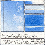 PB15 PV23 PW6 Prima Art Philosophy Confetti Denim Watercolor Swatch Card Color Chart