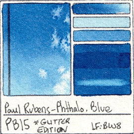 PB15 Paul Rubens Hint of Glitter Pan Set Watercolor Phthalo Blue Swatch Card Color Chart