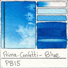 PB15 Prima Art Philosophy Confetti Blue Watercolor Swatch Card Color Chart