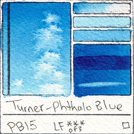 PB15 Turner Watercolor Phthalo Blue Color Art Pigment Database Swatch Card