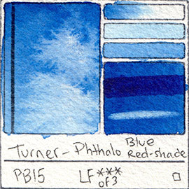 PB15 Turner Watercolor Phthalo Blue Red Shade Color Art Pigment Database Swatch Card