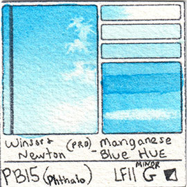 PB15 Winsor and Newton Professional Manganese Blue Hue Watercolor Swatch Card Color Chart