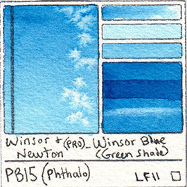 PB15 Winsor and Newton Professional Winsor Blue GS Watercolor Swatch Card Color Chart