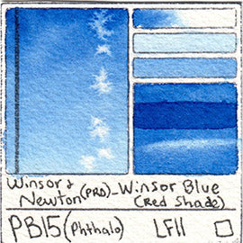 PB15 Winsor and Newton Professional Winsor Blue RS Watercolor Swatch Card Color Chart