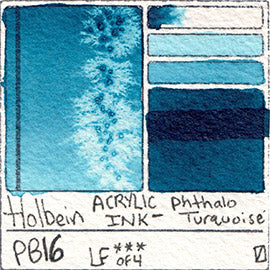 PB16 Holbein ACRYLIC INK Phthalo Turquoise pigment swatch card color colour database