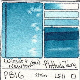 PB16 Winsor and Newton Professional Phthalo Turquoise Watercolor Swatch Card Color Chart
