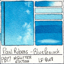 PB17 Paul Rubens Hint of Glitter Pan Set Watercolor Blue Peacock Swatch Card Color Chart