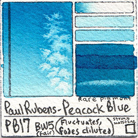 PB17 Paul Rubens Standard Pan set Peacock Blue art swatch card color pigment database stain test masstone diluted