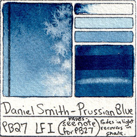 PB27 Daniel Smith Watercolor Prussian Blue Swatch Card