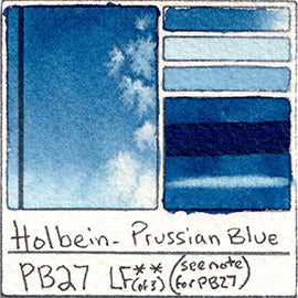 PB27 Holbein Watercolor Prussian Blue Swatch Card