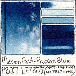 PB27 Mission Gold Prussian Blue watercolor color chart swatch card lightfast test