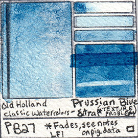 PB27 Old Holland Classic Watercolors Prussian Blue Extra pigment swatch rare mineral paint art professional