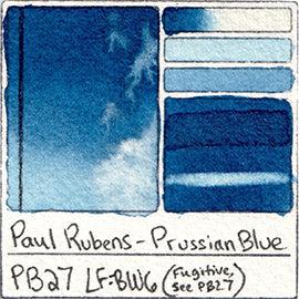 PB27 Paul Rubens Watercolor Prussian Blue Swatch Card