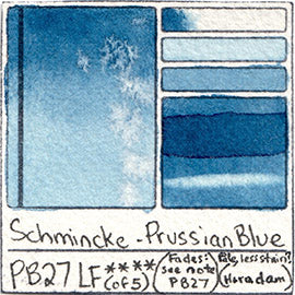 PB27 Schmincke Horadam Watercolor Prussian Blue Swatch Card