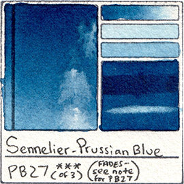 PB27 Sennelier Watercolor Prussian Blue Swatch Card
