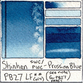 PB27 Shinhan Watercolor Prussian Blue Swatch Card