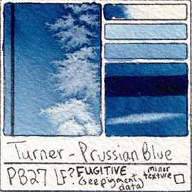 PB27 Turner Watercolor Prussian Blue Staining Pigment Database Swatch Card