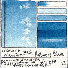 PB27 Winsor and Newton Professional Antwerp Blue Watercolor Swatch Card Color Chart
