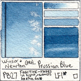 PB27 Winsor and Newton Professional Prussian Blue Watercolor Swatch Card Color Chart