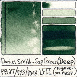 PB27 daniel smith deep sap green watercolor swatch prussian blue lightfast test