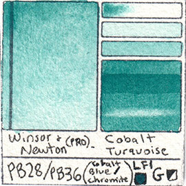 PB28 PB36 Winsor and Newton Professional Cobalt Turquoise Watercolor Swatch Card Color Chart