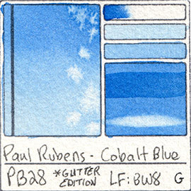 PB28 Paul Rubens Hint of Glitter Pan Set Watercolor Cobalt Blue Swatch Card Color Chart