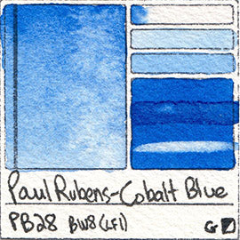 PB28 Paul Rubens Standard Pan set Cobalt Blue art swatch card color pigment database stain test masstone diluted