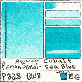 PB28 Roman Szmal Aquarius Watercolor Cobalt Sea Blue Color Swatch Granulating