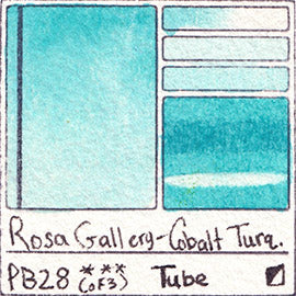PB28 Rosa Gallery Cobalt Turquoise Blue Watercolor Paint Pigment Database Handprint Color Chart