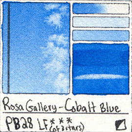 PB28 Rosa Gallery Watercolor Blue Cobalt Blue Pigment Database Color Chart Swatch Card