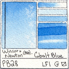 PB28 Winsor and Newton Professional Cobalt Blue Watercolor Swatch Card Color Chart
