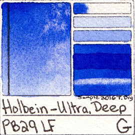 PB29 Holbein Watercolor Ultramarine Deep Pigment Database Color Chart