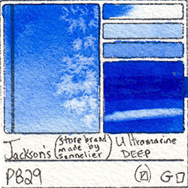 PB29 Jackson's Store Brand Ultramarine Deep gritty stain pigment database sennelier art color swatch card